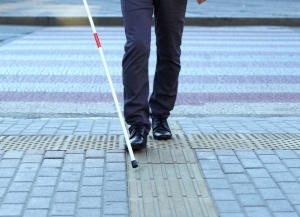 visually impaired man